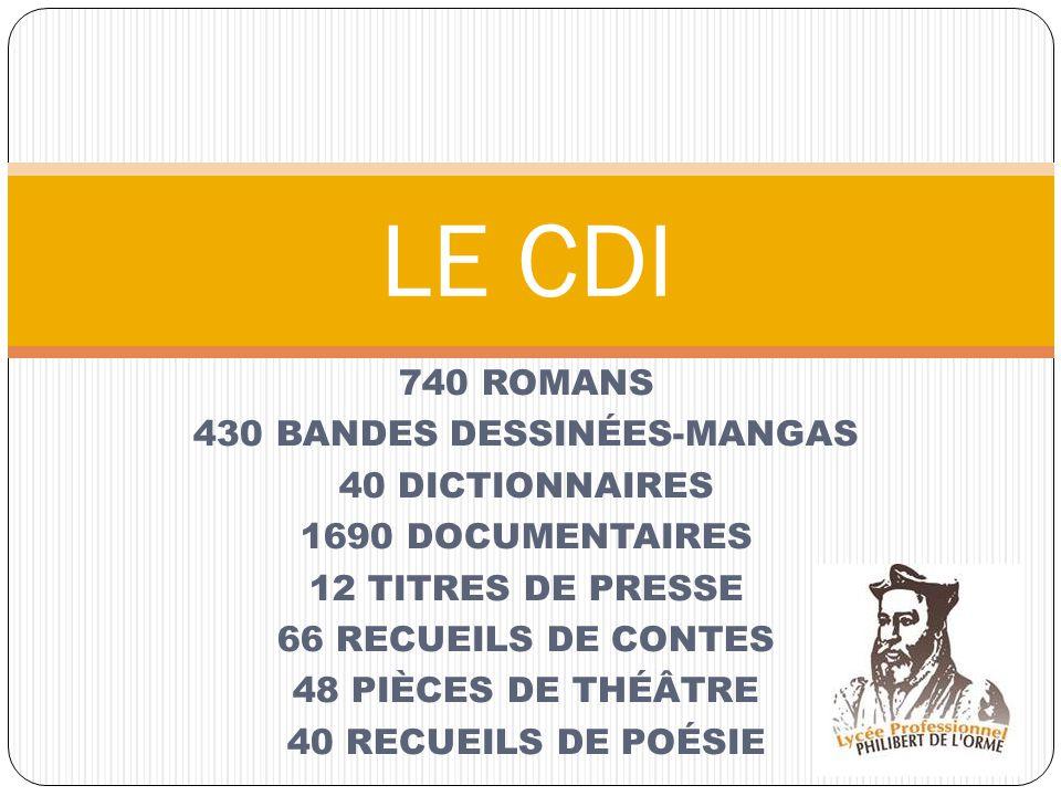 740 ROMANS 430 BANDES DESSINÉES-MANGAS 40 DICTIONNAIRES 1690 DOCUMENTAIRES 12 TITRES DE PRESSE 66 RECUEILS DE CONTES 48 PIÈCES DE THÉÂTRE 40 RECUEILS