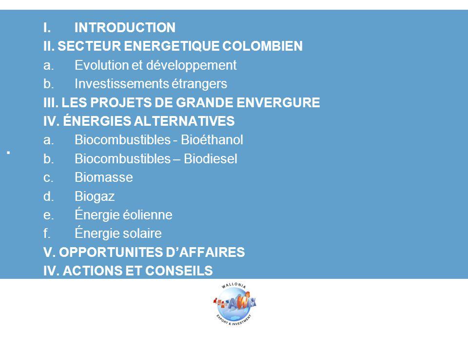 . I.INTRODUCTION II. SECTEUR ENERGETIQUE COLOMBIEN a.Evolution et développement b.Investissements étrangers III. LES PROJETS DE GRANDE ENVERGURE IV. É