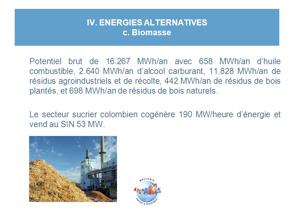 IV. ENERGIES ALTERNATIVES c. Biomasse Potentiel brut de 16.267 MWh/an avec 658 MWh/an d'huile combustible, 2.640 MWh/an d'alcool carburant, 11.828 MWh