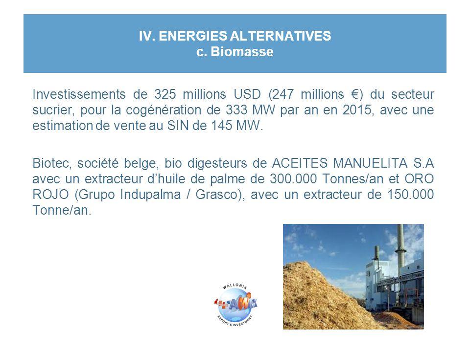 IV. ENERGIES ALTERNATIVES c. Biomasse Investissements de 325 millions USD (247 millions €) du secteur sucrier, pour la cogénération de 333 MW par an e