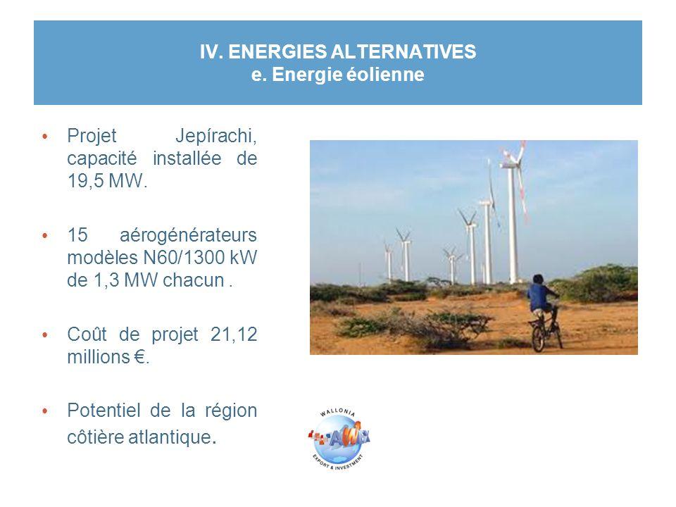 IV. ENERGIES ALTERNATIVES e. Energie éolienne Projet Jepírachi, capacité installée de 19,5 MW. 15 aérogénérateurs modèles N60/1300 kW de 1,3 MW chacun