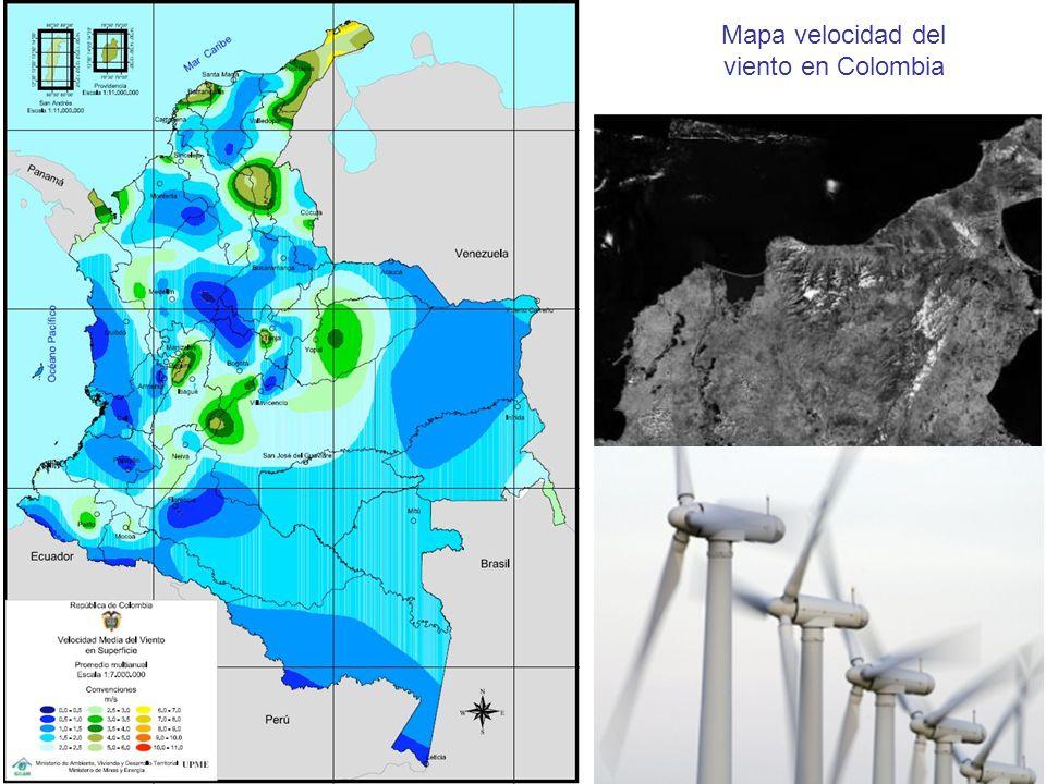 Mapa velocidad del viento en Colombia