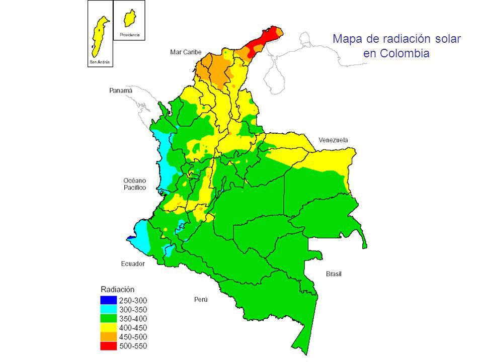 Mapa de radiación solar en Colombia