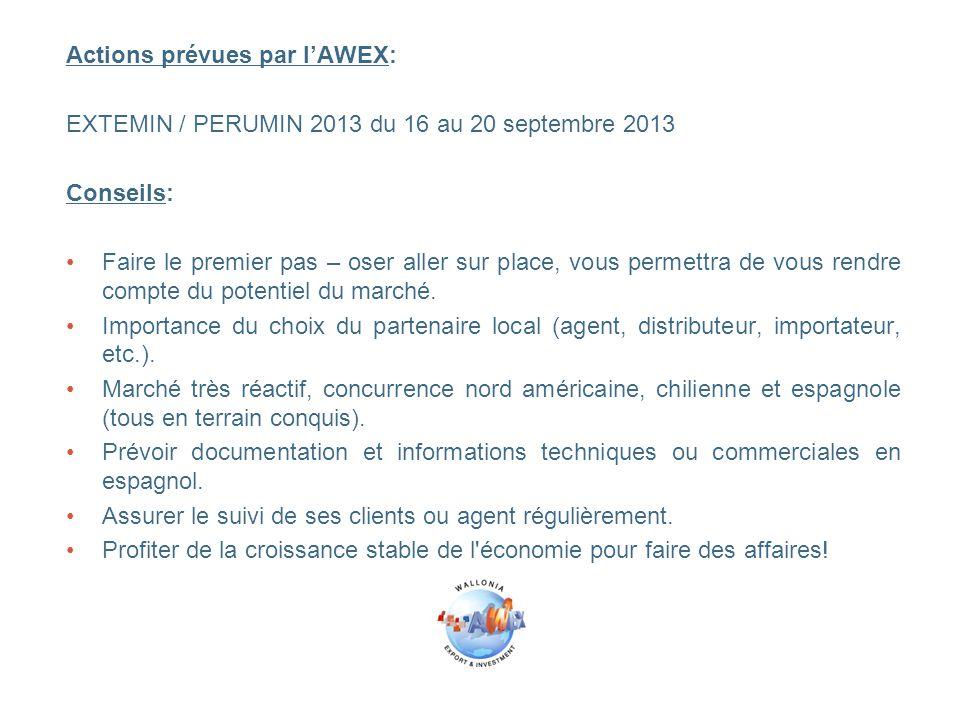 Actions prévues par l'AWEX: EXTEMIN / PERUMIN 2013 du 16 au 20 septembre 2013 Conseils: Faire le premier pas – oser aller sur place, vous permettra de vous rendre compte du potentiel du marché.