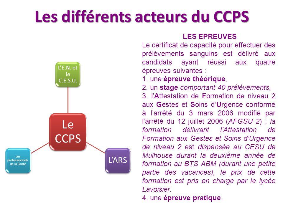 Les différents acteurs du CCPS Le CCPS L'E.N. et le C.E.S.U. L'ARS Les professionnels de la Santé LES EPREUVES Le certificat de capacité pour effectue