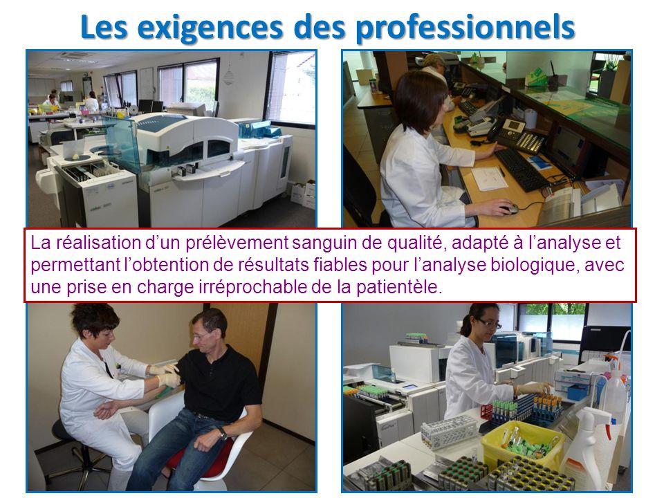 Les exigences des professionnels La réalisation d'un prélèvement sanguin de qualité, adapté à l'analyse et permettant l'obtention de résultats fiables