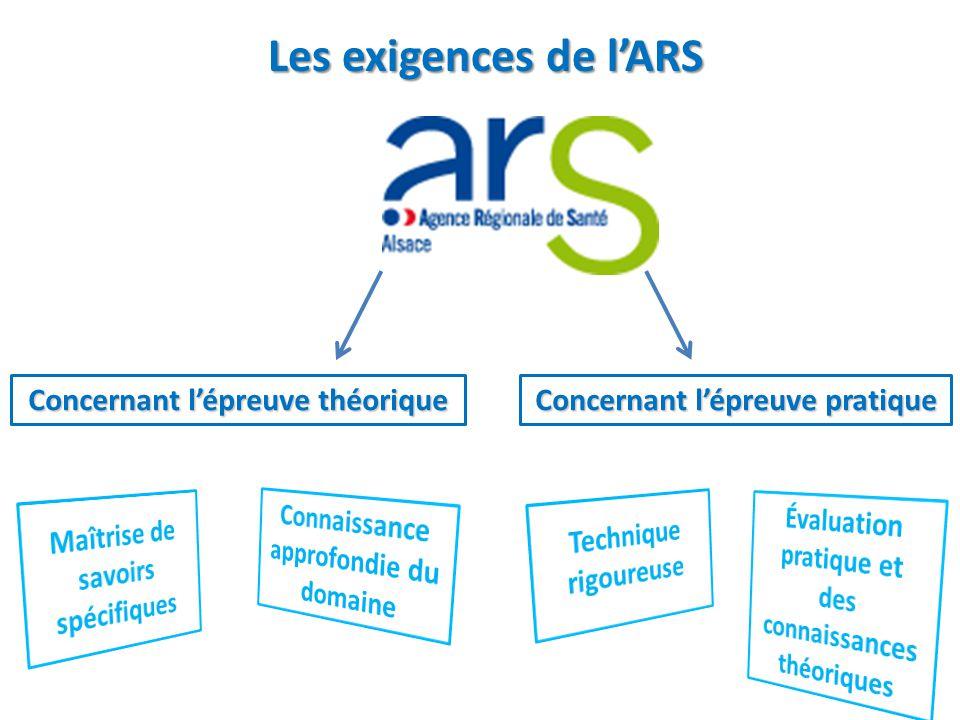 Les exigences de l'ARS Les exigences de l'ARS Concernant l'épreuve théorique Concernant l'épreuve pratique