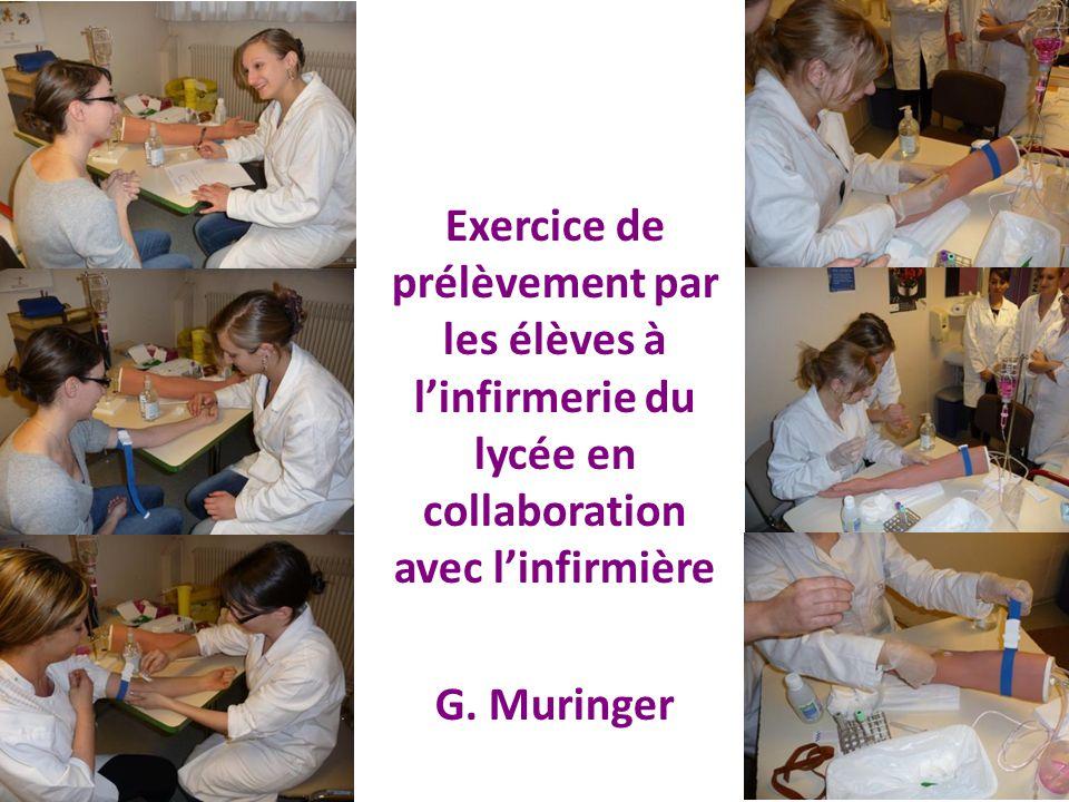 Exercice de prélèvement par les élèves à l'infirmerie du lycée en collaboration avec l'infirmière G. Muringer