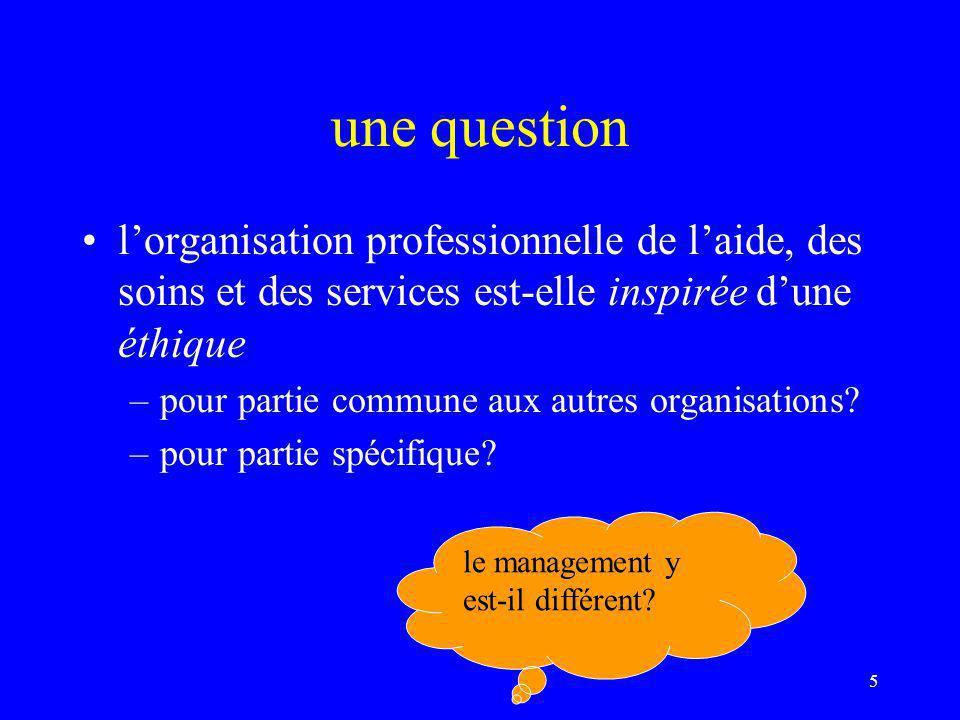 5 une question l'organisation professionnelle de l'aide, des soins et des services est-elle inspirée d'une éthique –pour partie commune aux autres organisations.