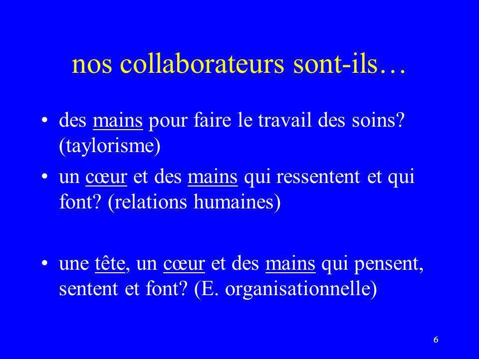 nos collaborateurs sont-ils… des mains pour faire le travail des soins? (taylorisme) un cœur et des mains qui ressentent et qui font? (relations humai