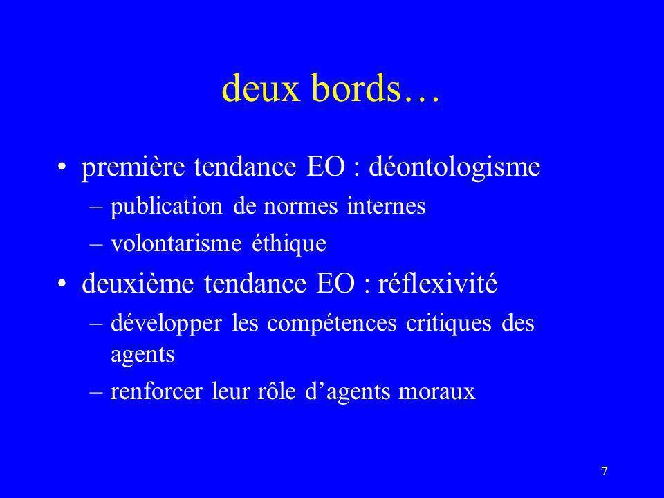 deux bords… première tendance EO : déontologisme –publication de normes internes –volontarisme éthique deuxième tendance EO : réflexivité –développer les compétences critiques des agents –renforcer leur rôle d'agents moraux 7