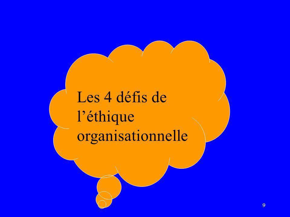 9 Les 4 défis de l'éthique organisationnelle