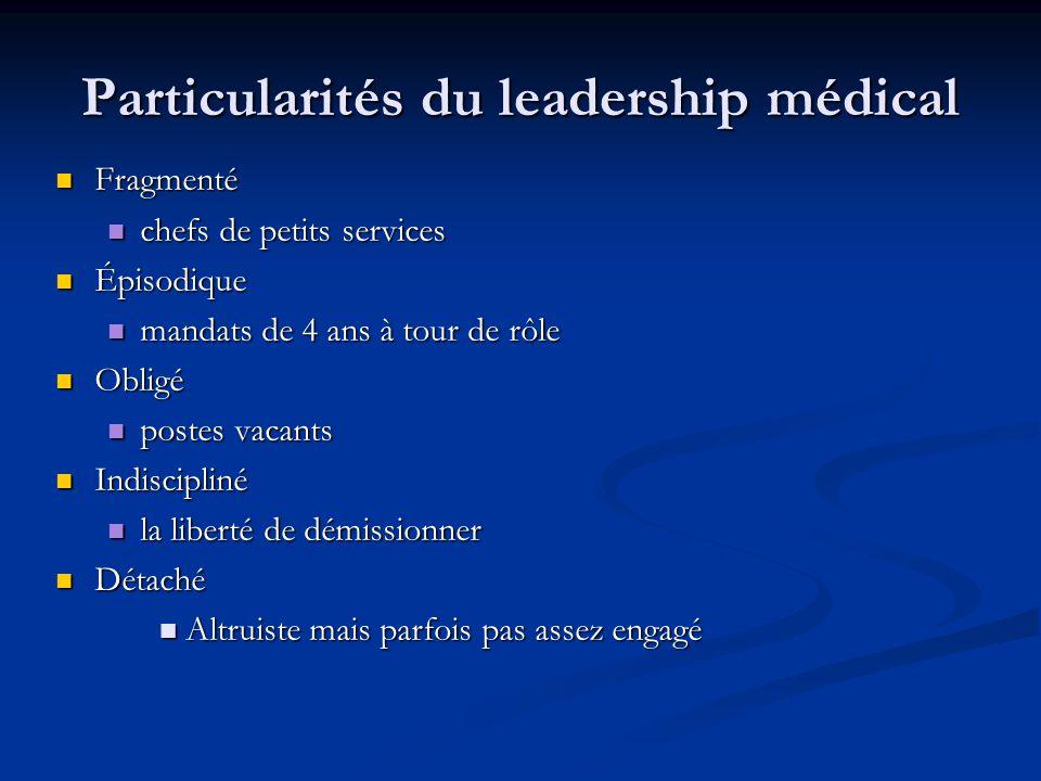 Particularités du leadership médical Fragmenté Fragmenté chefs de petits services chefs de petits services Épisodique Épisodique mandats de 4 ans à to