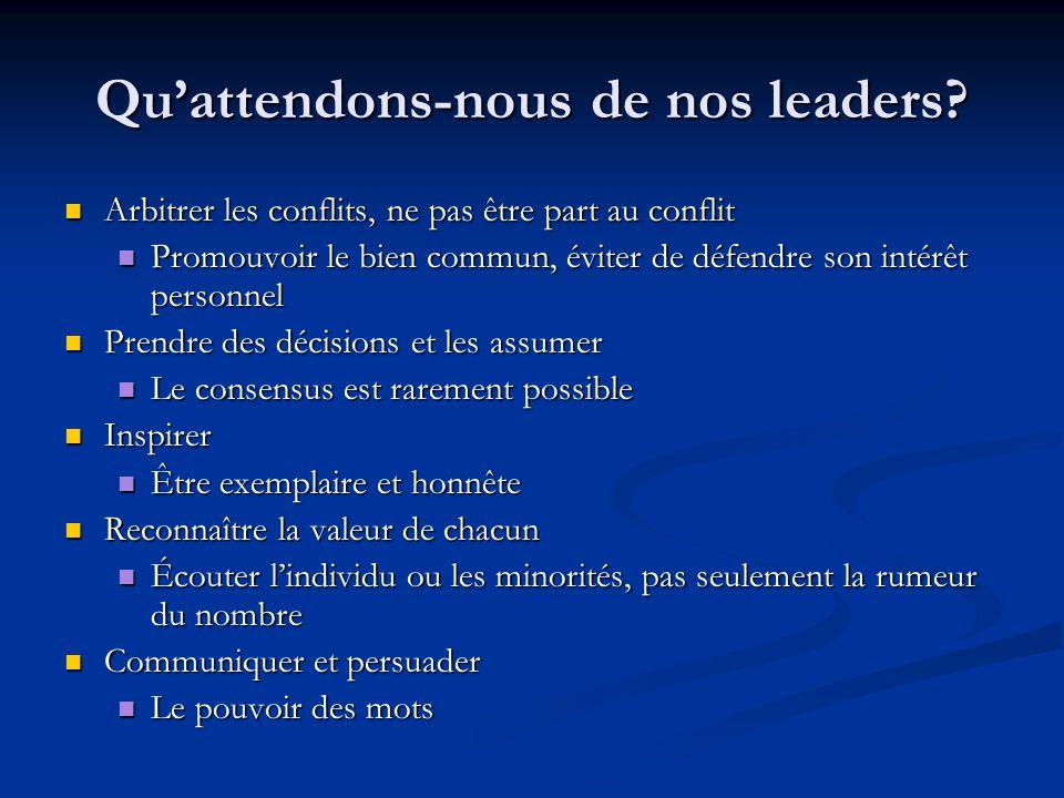Qu'attendons-nous de nos leaders? Arbitrer les conflits, ne pas être part au conflit Arbitrer les conflits, ne pas être part au conflit Promouvoir le