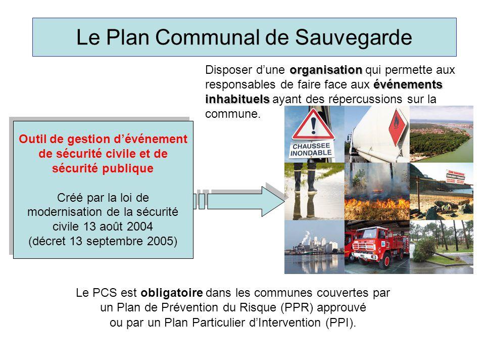 Le Plan Communal de Sauvegarde Outil de gestion d'événement de sécurité civile et de sécurité publique Créé par la loi de modernisation de la sécurité