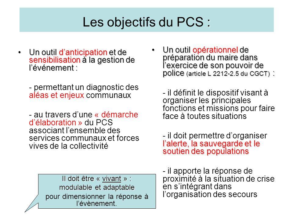 : Les objectifs du PCS : Un outil d'anticipation et de sensibilisation à la gestion de l'événement :Un outil d'anticipation et de sensibilisation à la