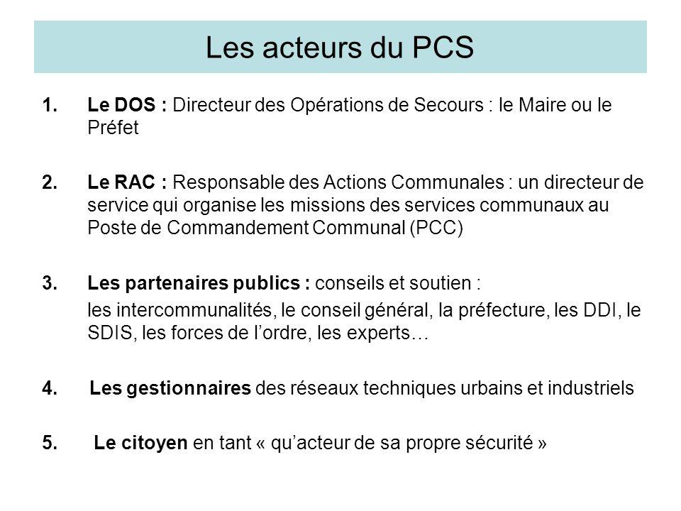Les acteurs du PCS 1.Le DOS : Directeur des Opérations de Secours : le Maire ou le Préfet 2.Le RAC : Responsable des Actions Communales : un directeur