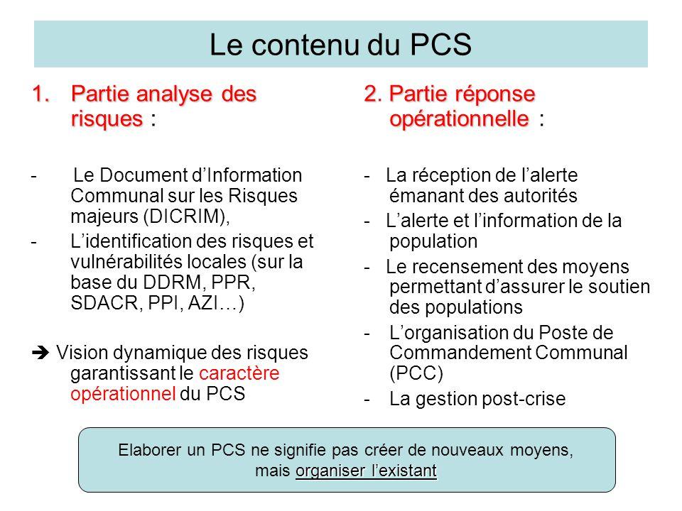 Le contenu du PCS 1.Partie analyse des risques 1.Partie analyse des risques : - Le Document d'Information Communal sur les Risques majeurs (DICRIM), -