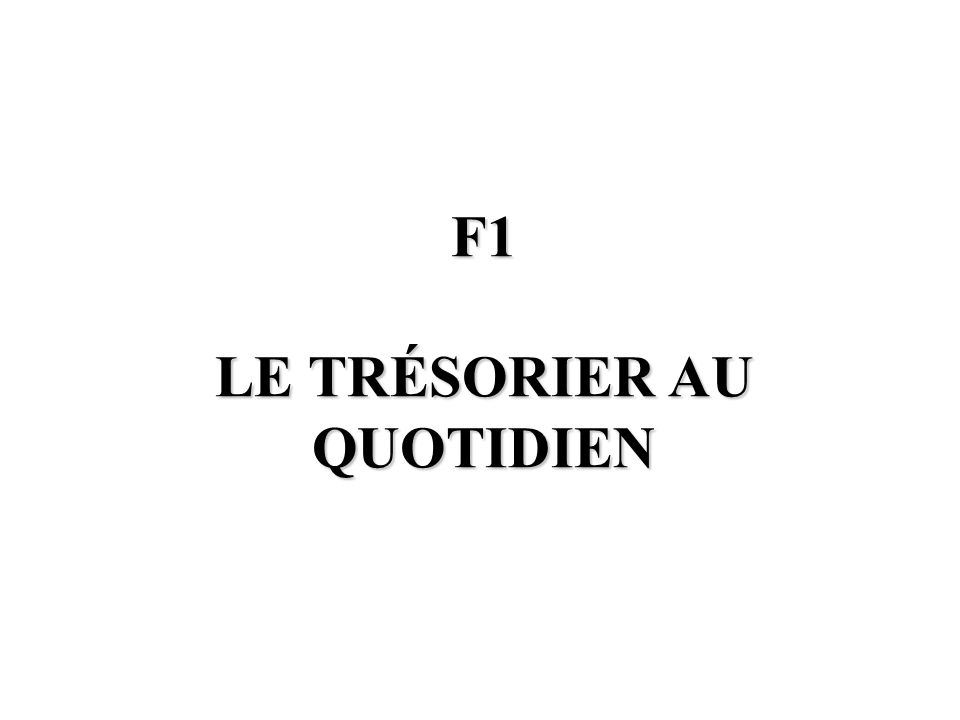 F1 LE TRÉSORIER AU QUOTIDIEN