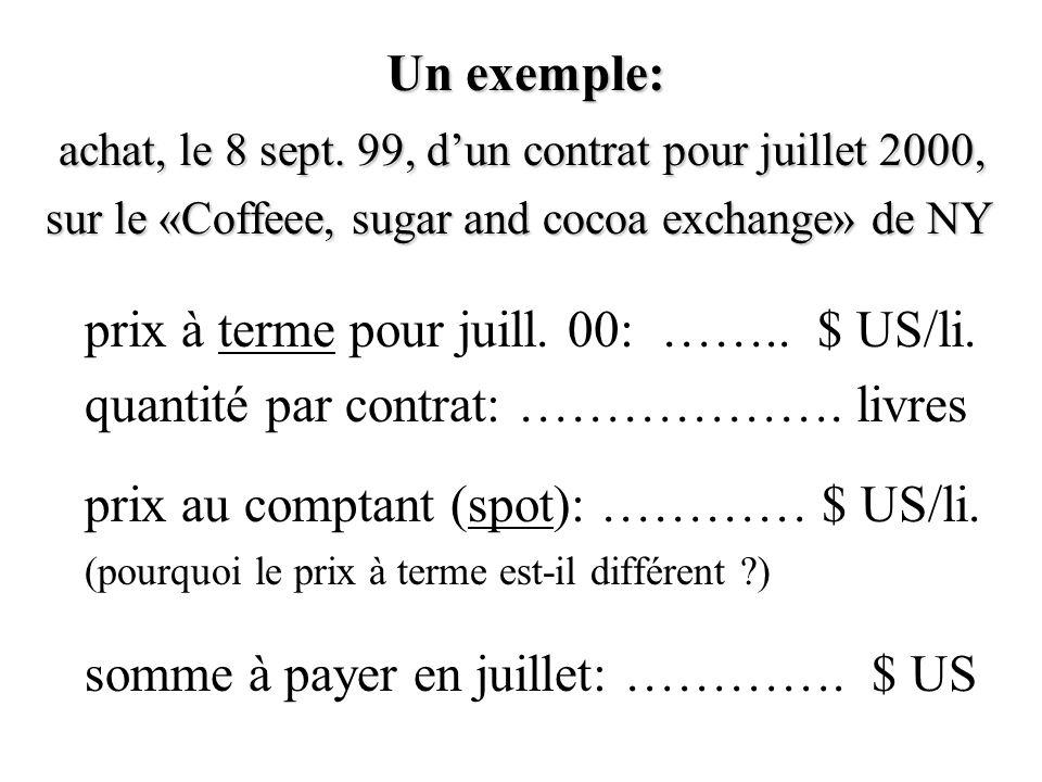 Un exemple: achat, le 8 sept. 99, d'un contrat pour juillet 2000, achat, le 8 sept.