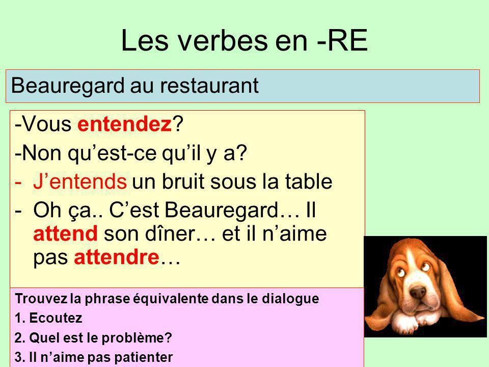 Les verbes en -RE -Vous entendez? -Non qu'est-ce qu'il y a? -J'entends un bruit sous la table -Oh ça.. C'est Beauregard… Il attend son dîner… et il n'