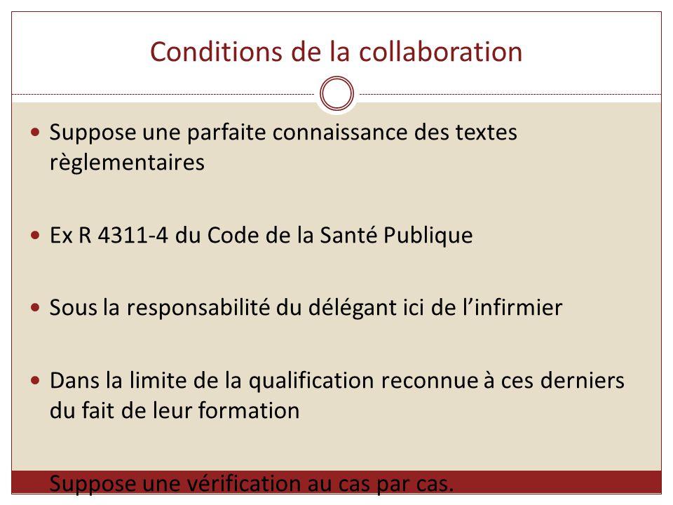 Conditions de la collaboration Suppose une parfaite connaissance des textes règlementaires Ex R 4311-4 du Code de la Santé Publique Sous la responsabi