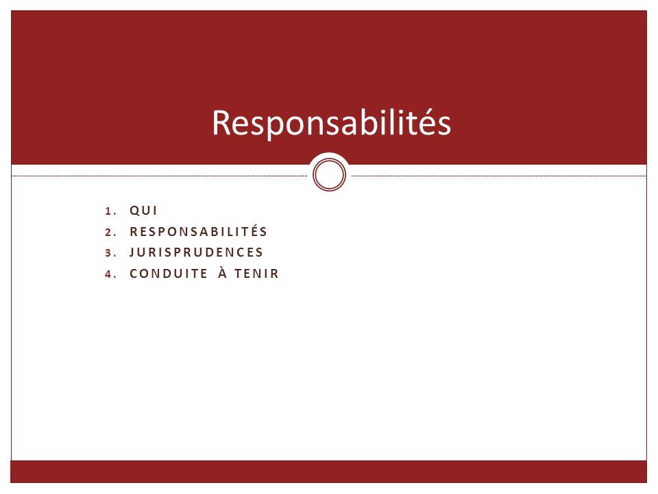 1. QUI 2. RESPONSABILITÉS 3. JURISPRUDENCES 4. CONDUITE À TENIR Responsabilités