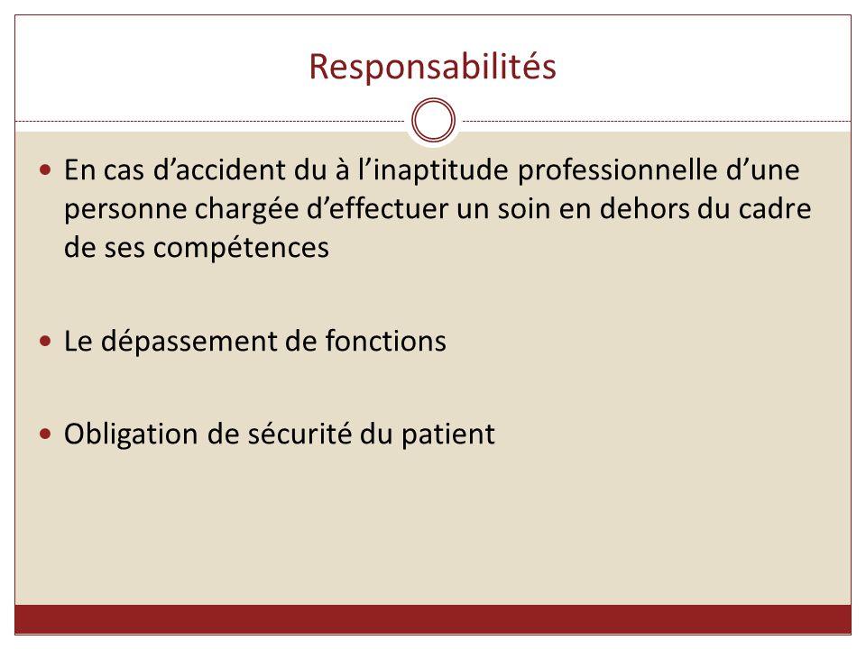 Responsabilités En cas d'accident du à l'inaptitude professionnelle d'une personne chargée d'effectuer un soin en dehors du cadre de ses compétences L