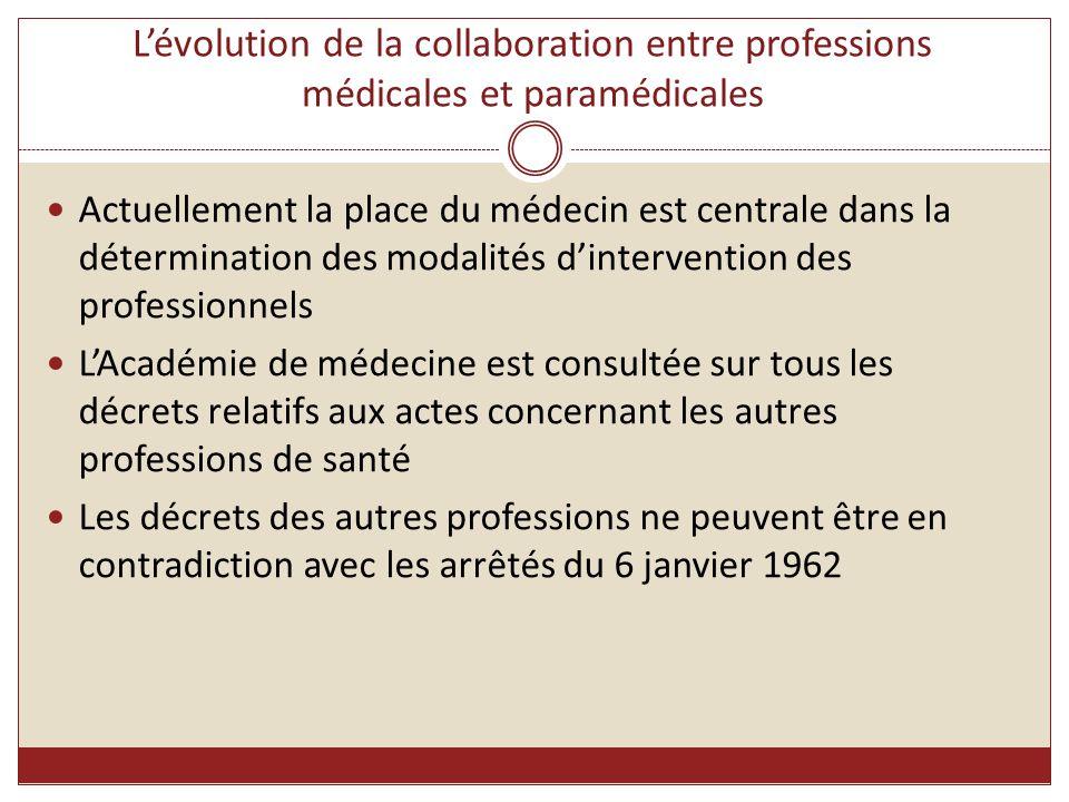 L'évolution de la collaboration entre professions médicales et paramédicales Actuellement la place du médecin est centrale dans la détermination des m