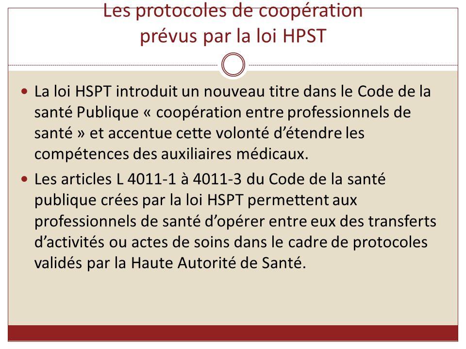 Les protocoles de coopération prévus par la loi HPST La loi HSPT introduit un nouveau titre dans le Code de la santé Publique « coopération entre prof