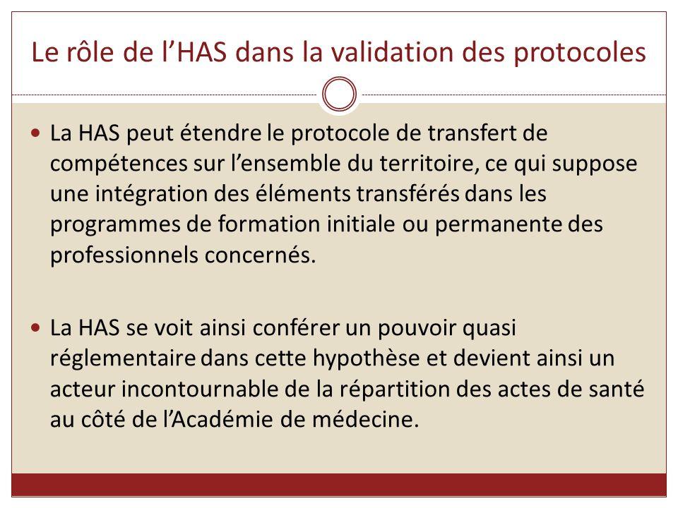 Le rôle de l'HAS dans la validation des protocoles La HAS peut étendre le protocole de transfert de compétences sur l'ensemble du territoire, ce qui s