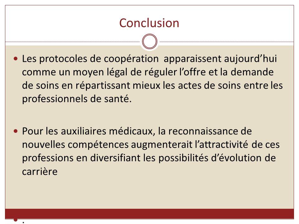 Conclusion Les protocoles de coopération apparaissent aujourd'hui comme un moyen légal de réguler l'offre et la demande de soins en répartissant mieux