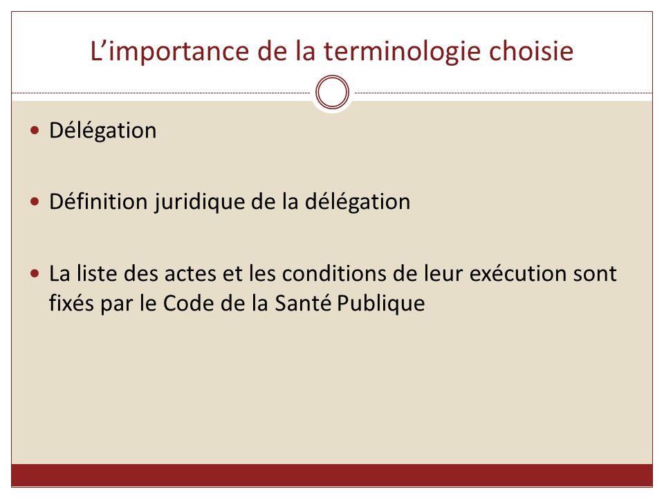 L'importance de la terminologie choisie Délégation Définition juridique de la délégation La liste des actes et les conditions de leur exécution sont f