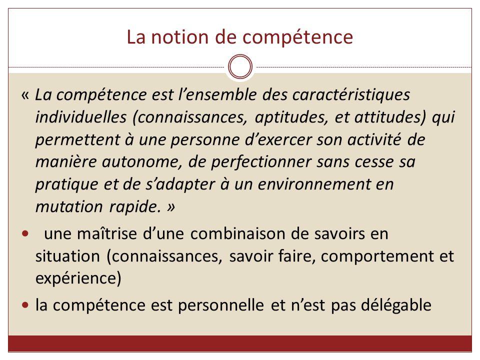 La notion de compétence « La compétence est l'ensemble des caractéristiques individuelles (connaissances, aptitudes, et attitudes) qui permettent à un