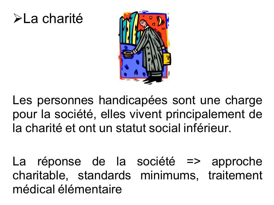  La charité Les personnes handicapées sont une charge pour la société, elles vivent principalement de la charité et ont un statut social inférieur. L