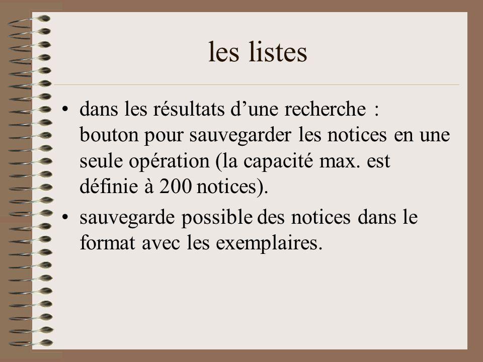 les listes dans les résultats d'une recherche : bouton pour sauvegarder les notices en une seule opération (la capacité max.