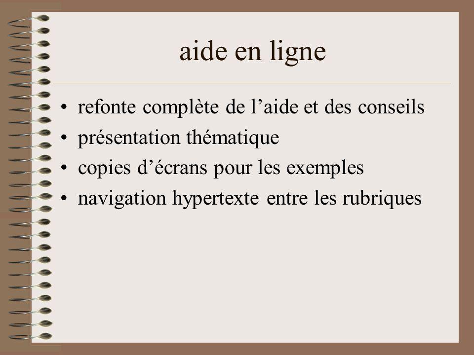 aide en ligne refonte complète de l'aide et des conseils présentation thématique copies d'écrans pour les exemples navigation hypertexte entre les rubriques