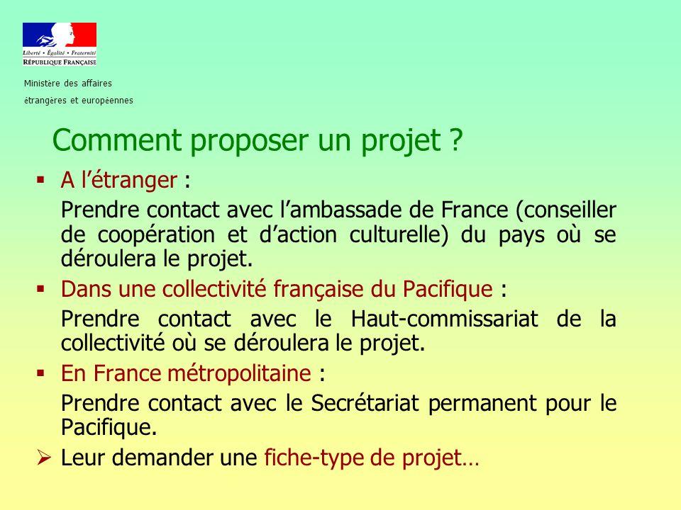 Comment proposer un projet ?  A l'étranger : Prendre contact avec l'ambassade de France (conseiller de coopération et d'action culturelle) du pays où