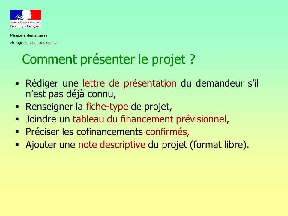 Comment présenter le projet ?  Rédiger une lettre de présentation du demandeur s'il n'est pas déjà connu,  Renseigner la fiche-type de projet,  Joi