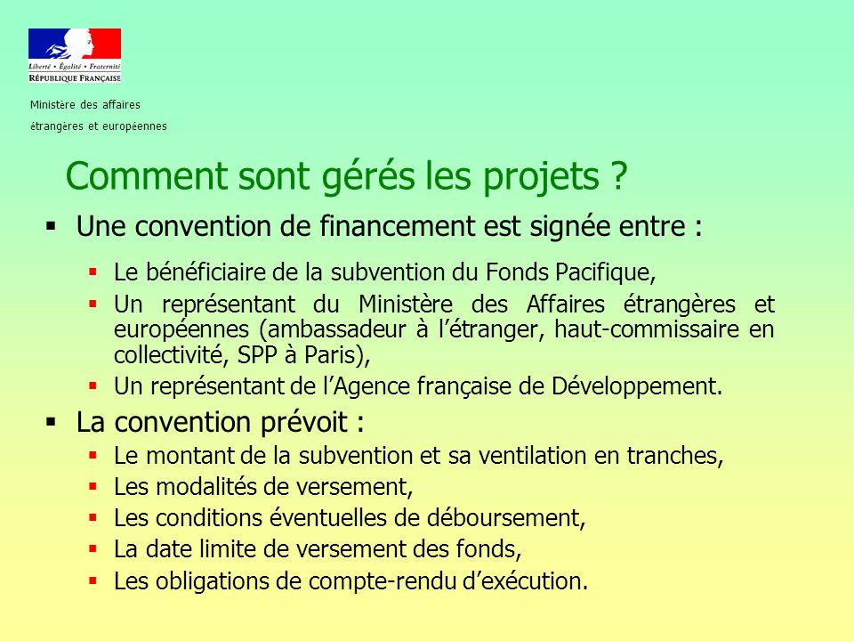 Comment sont gérés les projets ?  Une convention de financement est signée entre :  Le bénéficiaire de la subvention du Fonds Pacifique,  Un représ