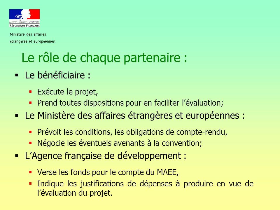 Le rôle de chaque partenaire :  Le bénéficiaire :  Exécute le projet,  Prend toutes dispositions pour en faciliter l'évaluation;  Le Ministère des