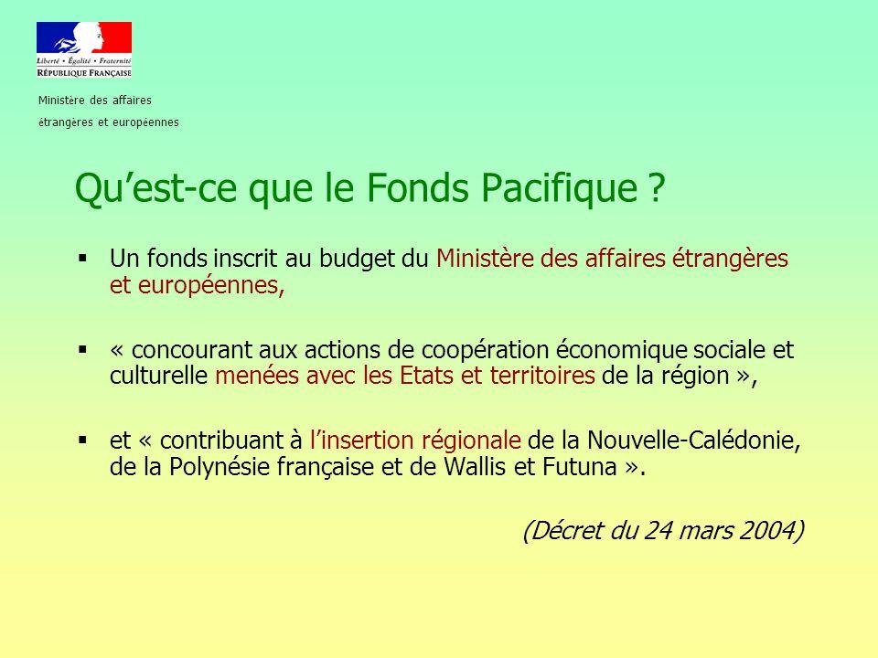 Qu'est-ce que le Fonds Pacifique ?  Un fonds inscrit au budget du Ministère des affaires étrangères et européennes,  « concourant aux actions de coo