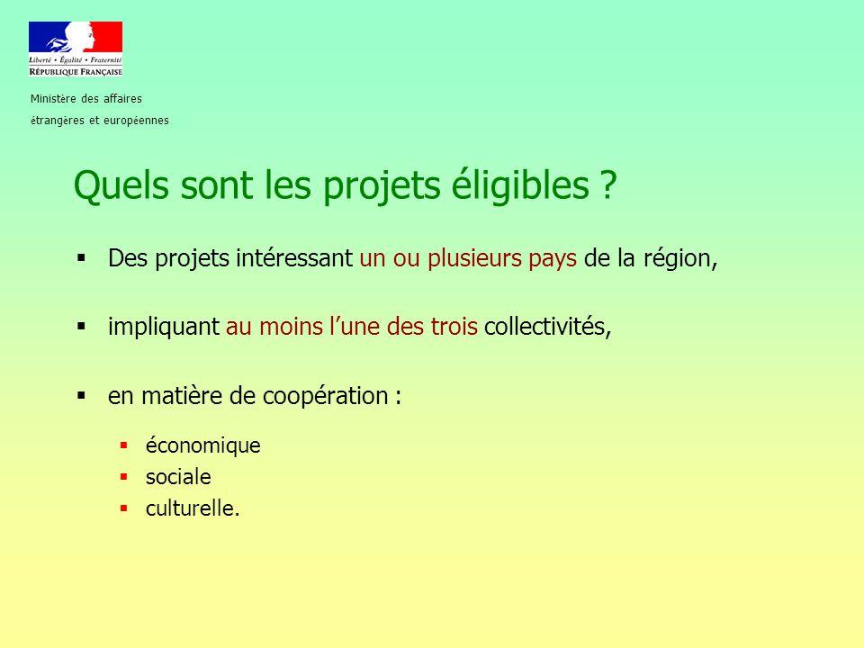 Quels sont les projets éligibles ?  Des projets intéressant un ou plusieurs pays de la région,  impliquant au moins l'une des trois collectivités, 
