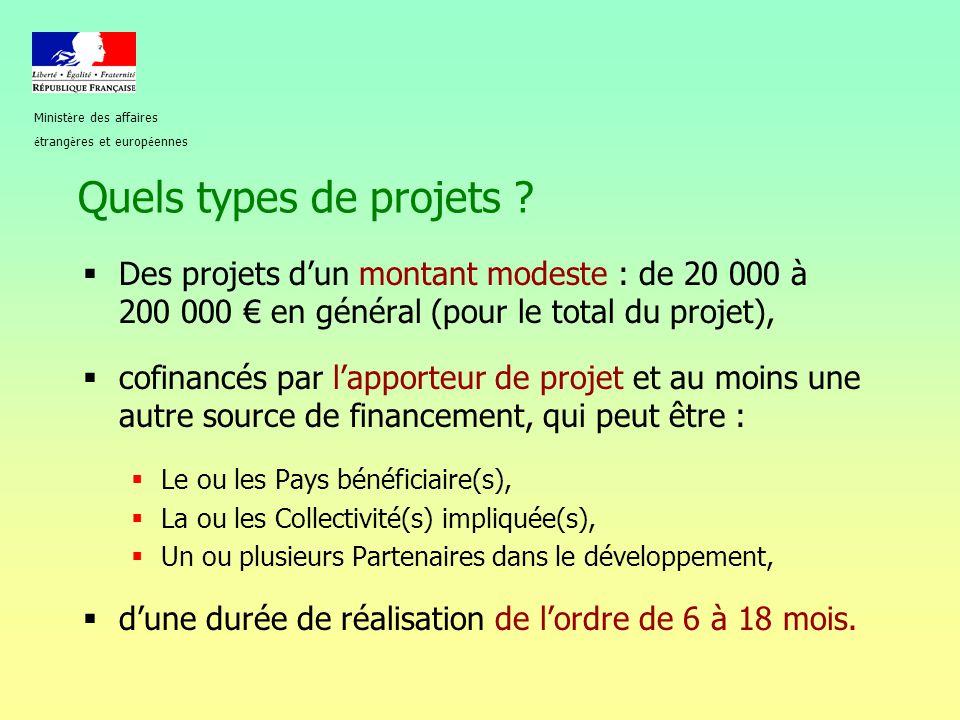 Quels types de projets ?  Des projets d'un montant modeste : de 20 000 à 200 000 € en général (pour le total du projet),  cofinancés par l'apporteur