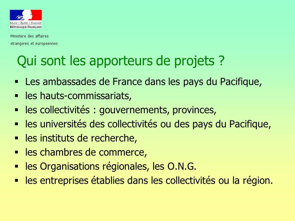 Qui sont les apporteurs de projets ?  Les ambassades de France dans les pays du Pacifique,  les hauts-commissariats,  les collectivités : gouvernem