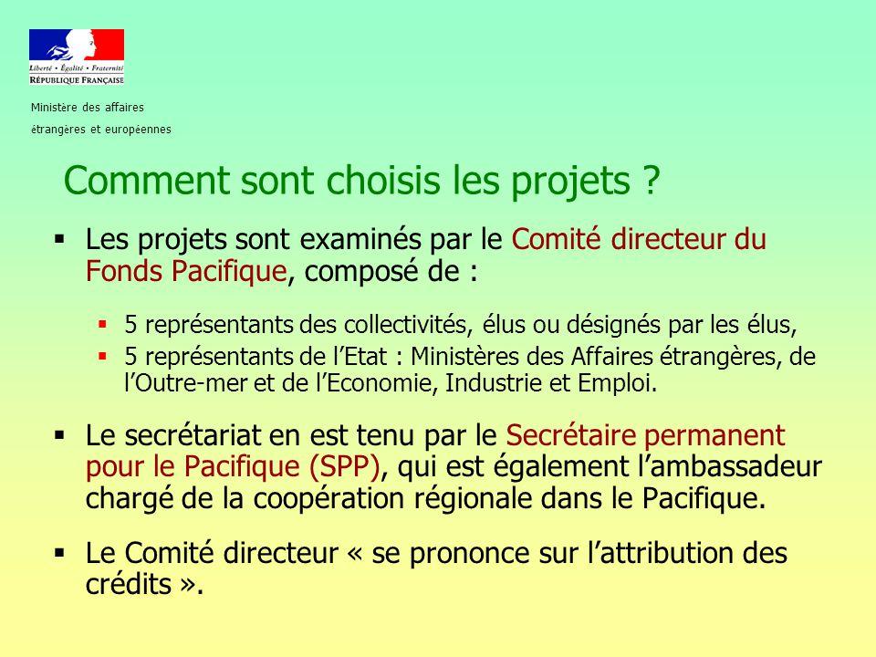 Comment sont choisis les projets ?  Les projets sont examinés par le Comité directeur du Fonds Pacifique, composé de :  5 représentants des collecti