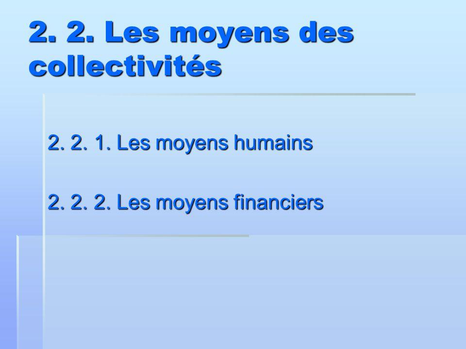 2. 2. Les moyens des collectivités 2. 2. 1. Les moyens humains 2. 2. 2. Les moyens financiers