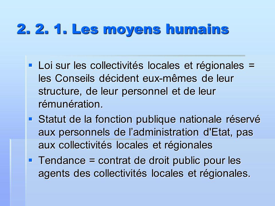 2. 2. 1. Les moyens humains  Loi sur les collectivités locales et régionales = les Conseils décident eux-mêmes de leur structure, de leur personnel e