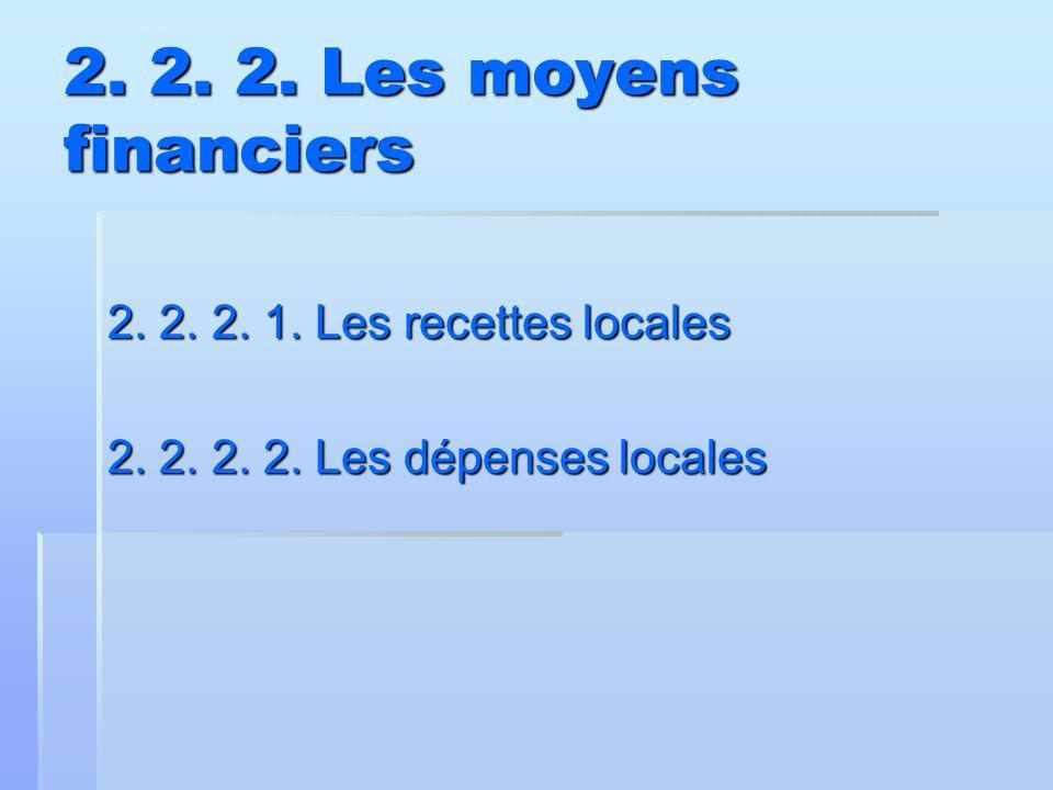 2. 2. 2. Les moyens financiers 2. 2. 2. 1. Les recettes locales 2. 2. 2. 2. Les dépenses locales