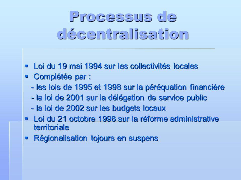 Processus de décentralisation  Loi du 19 mai 1994 sur les collectivités locales  Complétée par : - les lois de 1995 et 1998 sur la péréquation finan